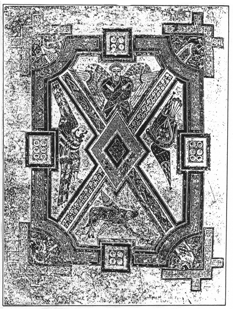 44 the tetramorph and more quadriformisratio 312 the symbols of the four evangelists in the book of kells f 290v early ninth century ad the quaternion is a central theme in the early european biocorpaavc